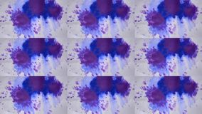 Beautiful Spreading Blue Ink Drops on White Wet Smooth Surface. Abstract Close-up Shot. Multicam split screen group montage background. Abstract animation wall stock video