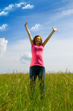 Beautiful spreading her arms Royalty Free Stock Photo