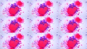 Beautiful Spreading Purple Ink Drops on White Wet Smooth Surface. Abstract Close-up Shot. Multicam split screen group montage background. Abstract animation stock footage