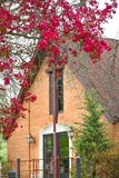 United Church of Christ, Williams Bay, Wisconsin. A beautiful spring blooming tree in front of the United Church of Christ in Williams Bay, WI stock image