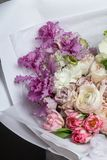 Beautiful spring bouquet of delicate flowers stock images