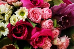 Beautiful spring bouquet of flowers close-up on a pink background. Bouquet of roses, chrysanthemums, lilies. Royalty Free Stock Photos