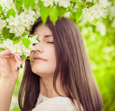 Beautiful spring brunette girl Royalty Free Stock Images
