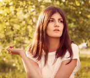 Beautiful spring brunette girl Stock Images