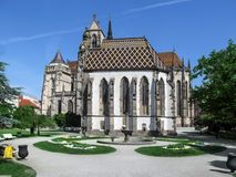 Beautiful spring colorful square near the Church of St. Michael in Kosice royalty free stock images