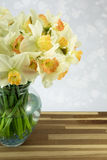 Daffodils in vase. Beautiful spring daffodils in a glass vase Stock Photo