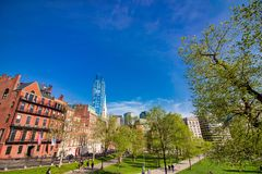 Beautiful spring day at Boston Common Park Massachusetts royalty free stock images