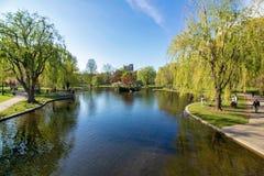 Beautiful spring day at Boston Common Park Massachusetts stock image