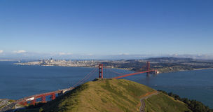 Above the Golden Gate Bridge looking down with clear skies in the afternoon. A beautiful spring day looking down from above the Golden Gate Bridge. Ample sky Royalty Free Stock Photo