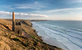 Beautiful Spring Day, Towanroath Engine House, Wheal Coates, Co stock images