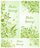 Beautiful spring floral banners. Collection Royalty Free Stock Image