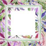 Beautiful spring floral border. Gloriosa lily flowers with exotic leaves on beige background. Square frame with white space for a text. Watercolor painting Royalty Free Stock Images