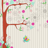 Beautiful spring floral tree with butterflies Royalty Free Stock Images