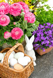 Beautiful spring flowers with easter decoration Royalty Free Stock Photo