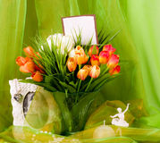 Beautiful spring flowers in a glass vase Stock Images