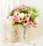 Beautiful spring flowers in a glass vase Royalty Free Stock Image