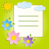 Beautiful Spring Flowers Green Background -Vector Royalty Free Stock Photo