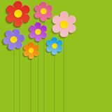 Beautiful Spring Flowers Green Background -Vector.  Royalty Free Stock Images