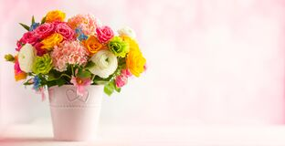 Beautiful Spring Flowers In Vase On White Wooden Table. Festive Concept With Copy Space Stock Photography