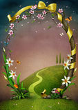 Beautiful spring frame with flowers. Royalty Free Stock Photo