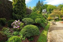 Beautiful spring garden with buxus Stock Image