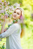 Beautiful spring girl in blooming tree Stock Photography