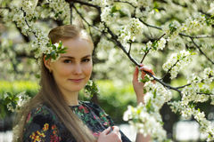 Beautiful spring girl in blooming tree Stock Images