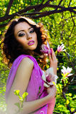 Beautiful Spring Girl with flowers Stock Photos
