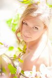 Beautiful Spring Girl with flowers. Beautiful Spring Girl with the magnolia flowers Stock Photos