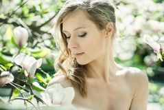 Beautiful Spring Girl with flowers Royalty Free Stock Photos