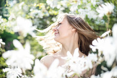 Beautiful Spring Girl with flowers Royalty Free Stock Image