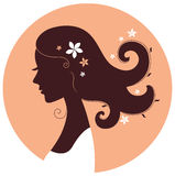 Beautiful spring girl silhouette Stock Photography