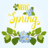 Beautiful spring greeting card with a beautiful blue flowers and lettering on a blue background. Vector illustration Stock Images