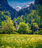 Beautiful spring landscape with church Stock Photo