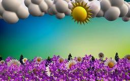Beautiful spring landscape in 3D format vector illustration