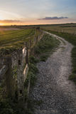 Beautiful Spring landscape of gate leading footpath into fields Stock Images