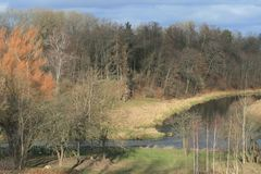 Beautiful spring landscape near river stock photo
