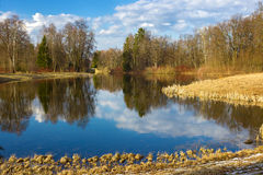 Beautiful spring landscape with reflection on the sunny day. Park of Pavlovsk. Saint Petersburg. Russia Royalty Free Stock Photography