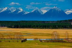 Beautiful spring landscape of the Western Sayan mountains Stock Photo