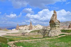 Beautiful spring landscapes on mountain trails Cappadocia. The photo was taken in Turkey in the spring. The picture shows the beautiful landscapes found on the royalty free stock photography