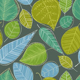Beautiful spring leaves on dark background, seamless pattern. Royalty Free Stock Images