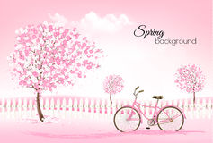 Beautiful spring nature background. With a blossoming trees and landscaper. Vector royalty free illustration