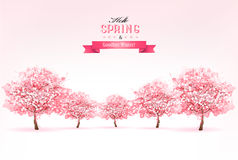 Beautiful spring nature background with trees. Vector stock illustration