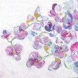 Beautiful spring pink flowers, watercolor illustration. Floral background. Sweet pea flowers brunches. Stock Image