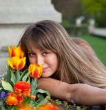 Beautiful spring portrait with tulips Royalty Free Stock Photo