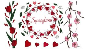 Beautiful spring set with flowers and hearts stock illustration