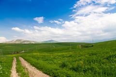 Beautiful spring and summer landscape. Mountain country road among green hills. Bright green grass. Beautiful spring and summer landscape. Mountain country road royalty free stock images