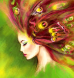 Beautiful Spring Summer woman butterfly. Abstract illustration. Fantasy Portrait Royalty Free Stock Photography