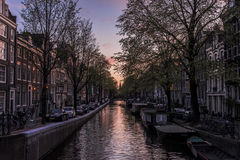 Beautiful spring sunset in Amsterdam. Royalty Free Stock Image