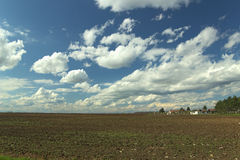 Beautiful spring time. Beautiful field in Croatia. Clouds in spring time stock photos